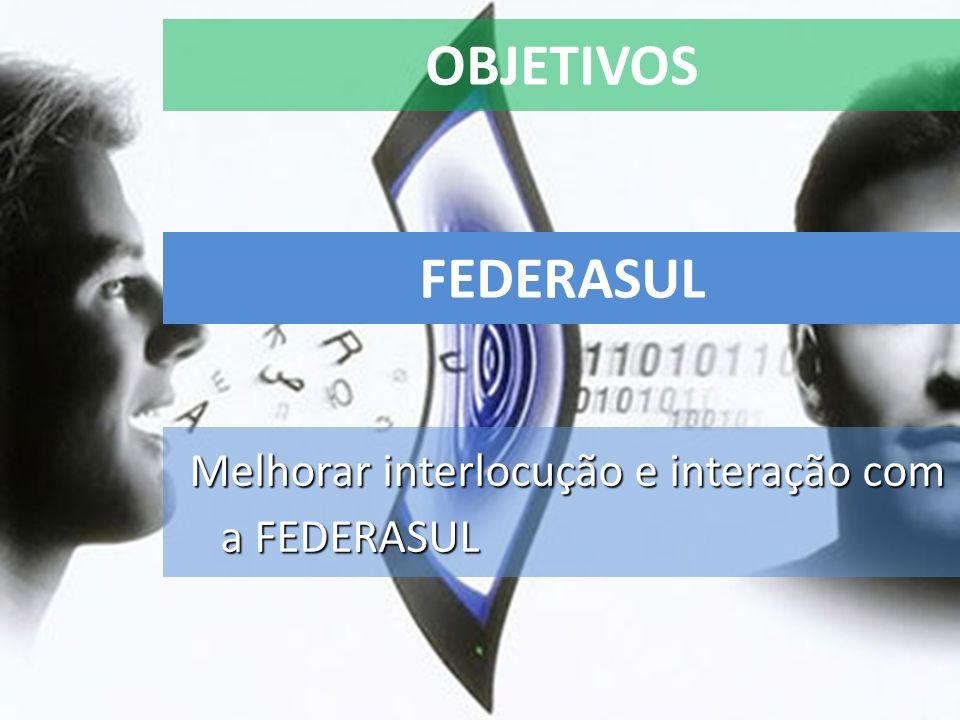 OBJETIVOS Melhorar interlocução e interação com a FEDERASUL FEDERASUL