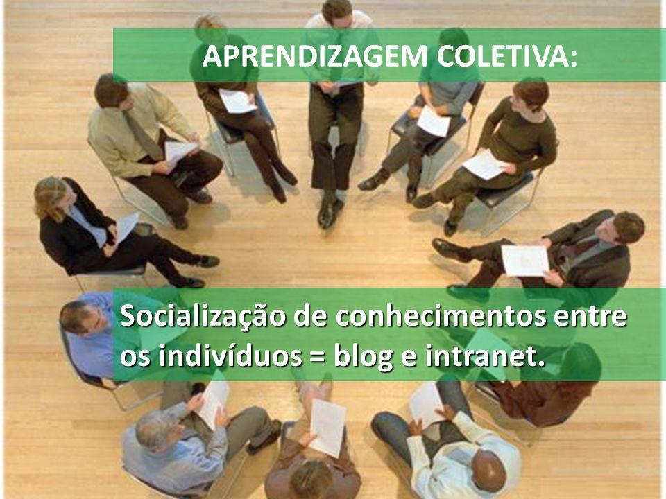APRENDIZAGEM COLETIVA: Socialização de conhecimentos entre os indivíduos = blog e intranet.