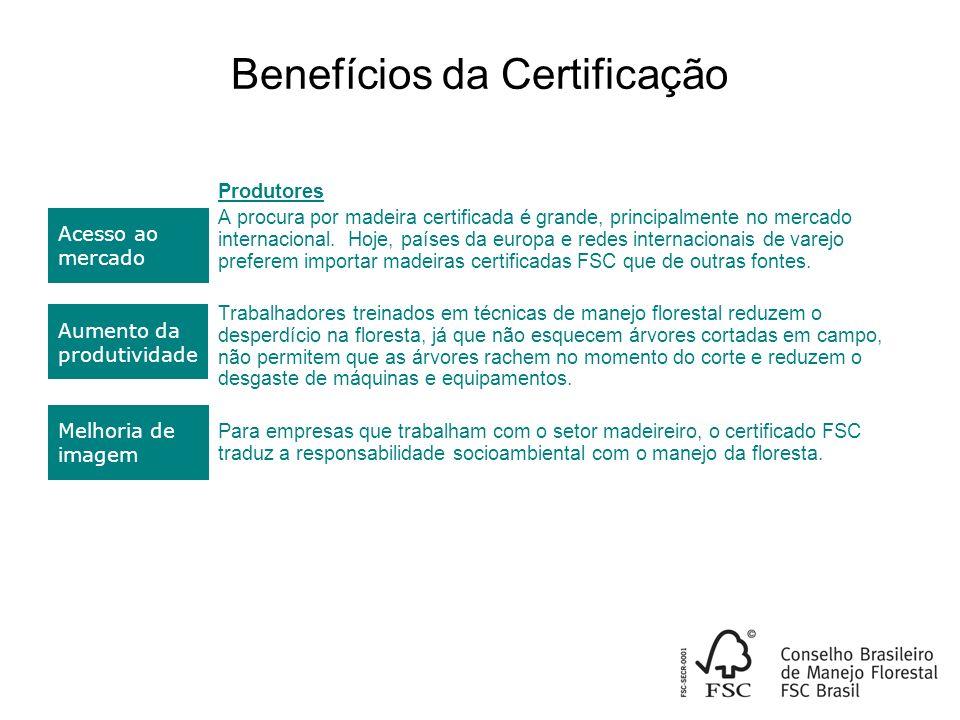 Benefícios da Certificação Produtores A procura por madeira certificada é grande, principalmente no mercado internacional.
