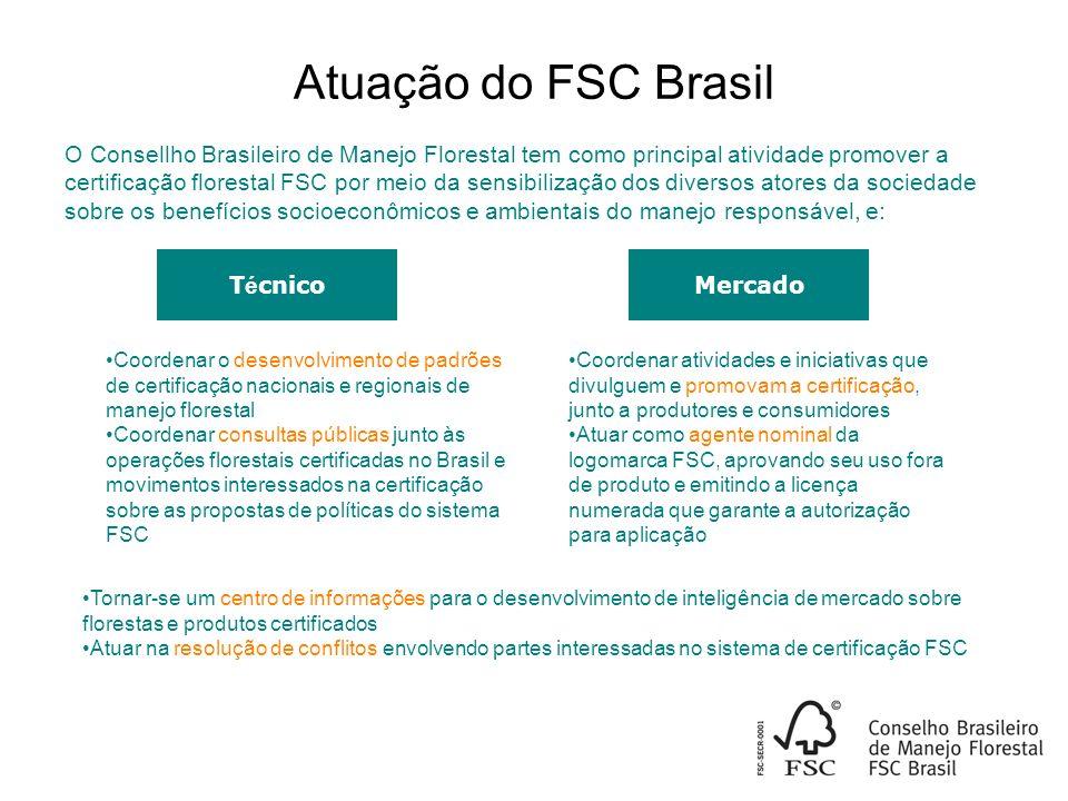 Atuação do FSC Brasil T é cnico Coordenar o desenvolvimento de padrões de certificação nacionais e regionais de manejo florestal Coordenar consultas públicas junto às operações florestais certificadas no Brasil e movimentos interessados na certificação sobre as propostas de políticas do sistema FSC Coordenar atividades e iniciativas que divulguem e promovam a certificação, junto a produtores e consumidores Atuar como agente nominal da logomarca FSC, aprovando seu uso fora de produto e emitindo a licença numerada que garante a autorização para aplicação Tornar-se um centro de informações para o desenvolvimento de inteligência de mercado sobre florestas e produtos certificados Atuar na resolução de conflitos envolvendo partes interessadas no sistema de certificação FSC Mercado O Consellho Brasileiro de Manejo Florestal tem como principal atividade promover a certificação florestal FSC por meio da sensibilização dos diversos atores da sociedade sobre os benefícios socioeconômicos e ambientais do manejo responsável, e: