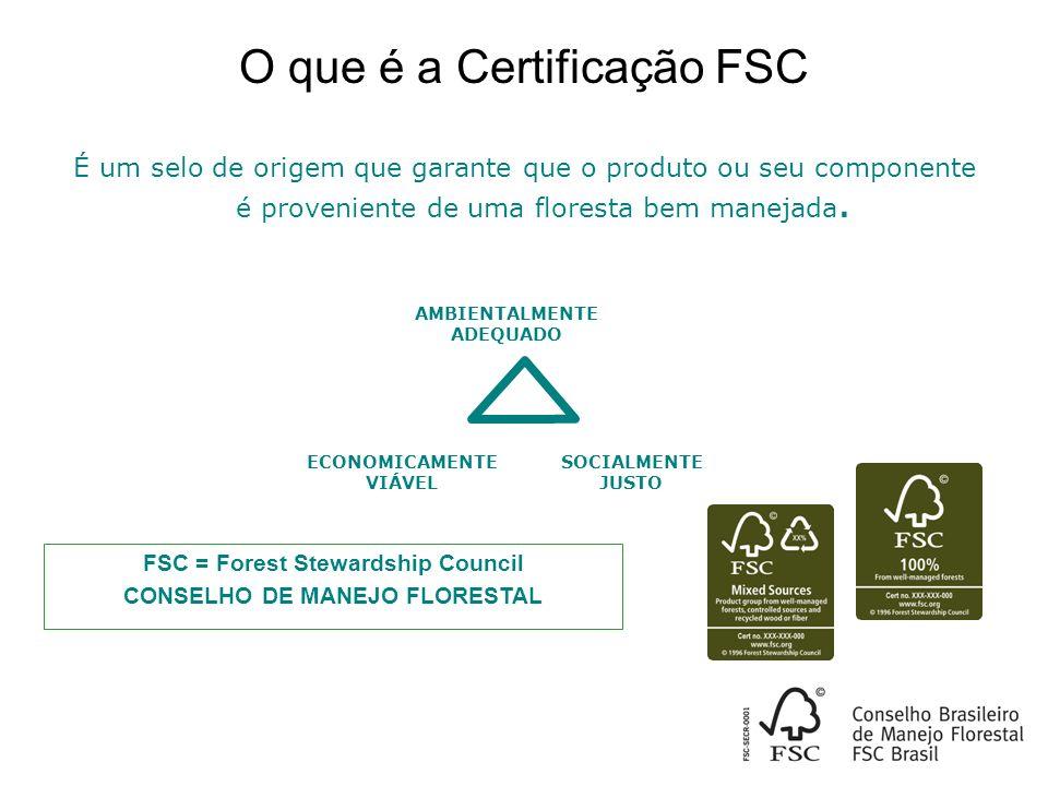 É um selo de origem que garante que o produto ou seu componente é proveniente de uma floresta bem manejada.