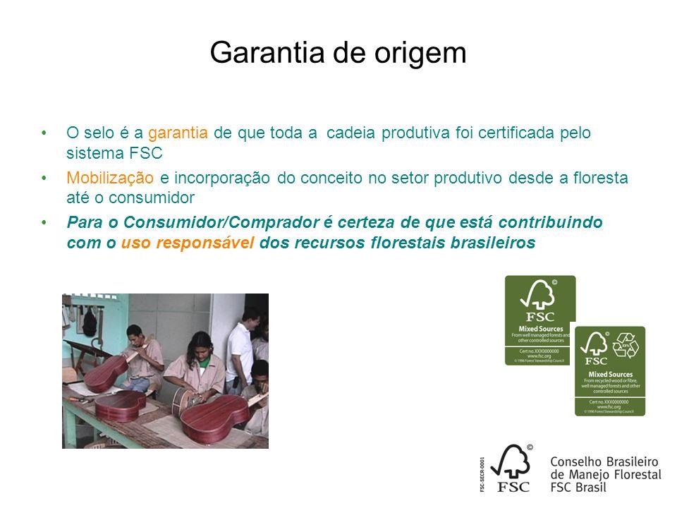 Garantia de origem O selo é a garantia de que toda a cadeia produtiva foi certificada pelo sistema FSC Mobilização e incorporação do conceito no setor produtivo desde a floresta até o consumidor Para o Consumidor/Comprador é certeza de que está contribuindo com o uso responsável dos recursos florestais brasileiros