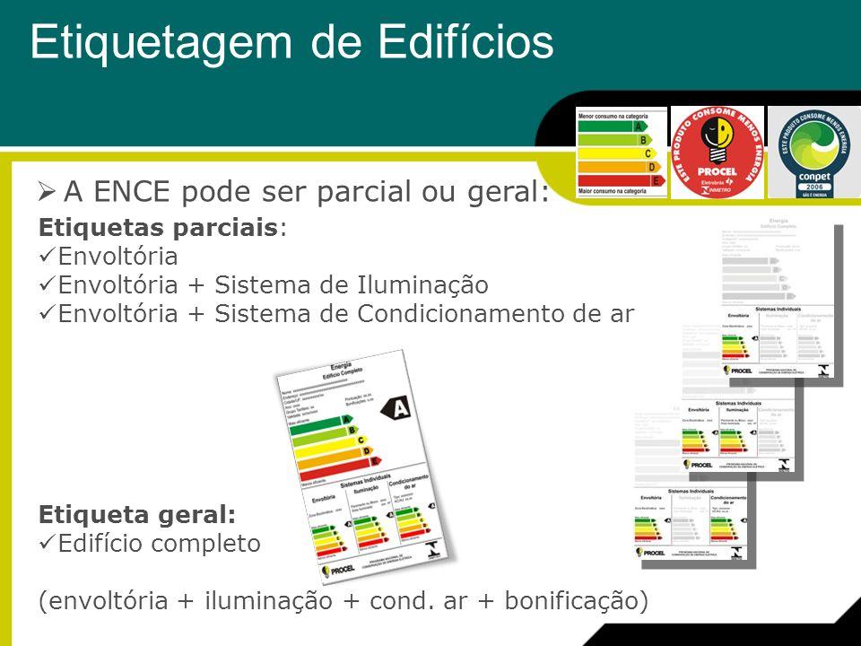 A ENCE pode ser parcial ou geral: Etiquetas parciais: Envoltória Envoltória + Sistema de Iluminação Envoltória + Sistema de Condicionamento de ar Etiq