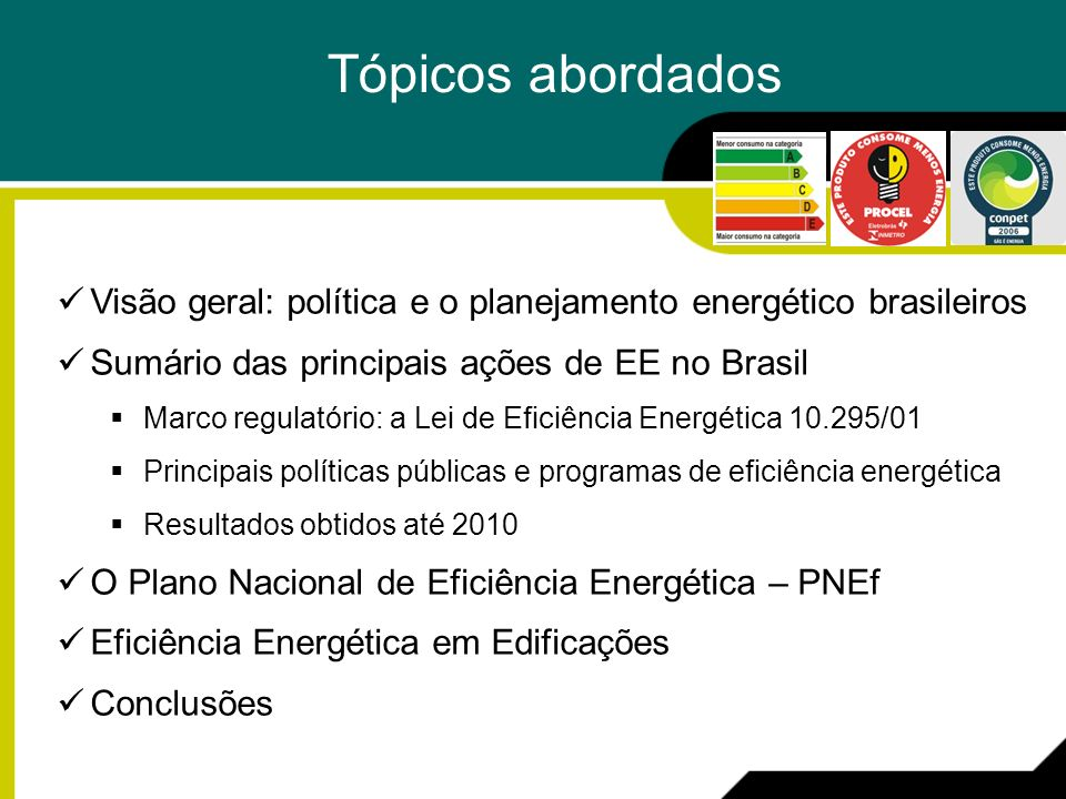 Tópicos abordados Visão geral: política e o planejamento energético brasileiros Sumário das principais ações de EE no Brasil Marco regulatório: a Lei