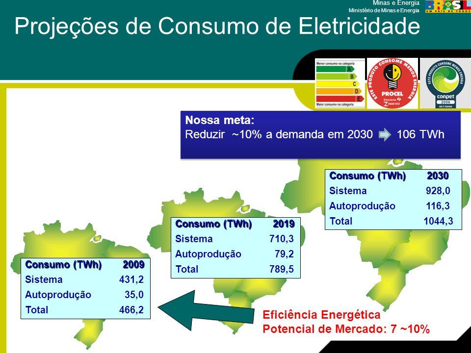 Minas e Energia Ministério de Minas e Energia Projeções de Consumo de Eletricidade Consumo (TWh) 2009 Sistema431,2 Autoprodução 35,0 Total466,2 Consum