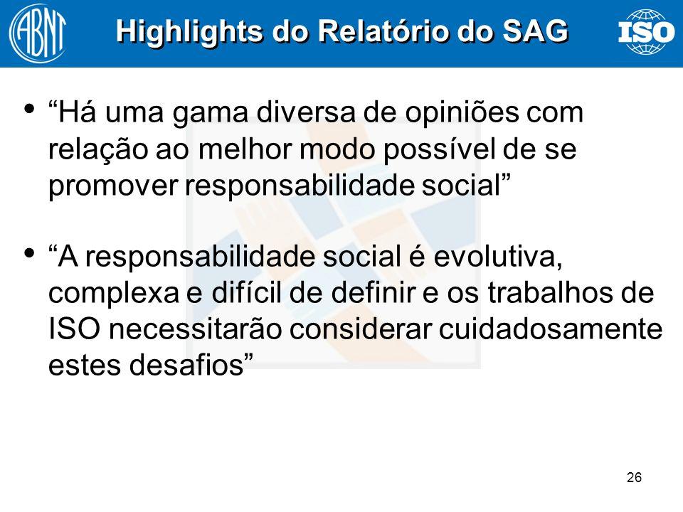 26 Highlights do Relatório do SAG Há uma gama diversa de opiniões com relação ao melhor modo possível de se promover responsabilidade social Há uma ga