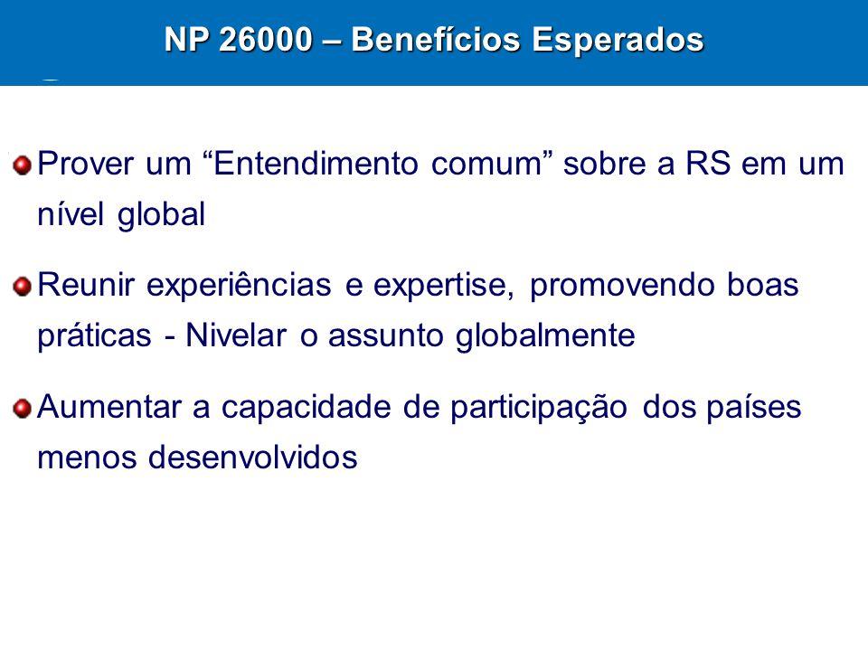 27 NP 26000 – Benefícios Esperados Prover um Entendimento comum sobre a RS em um nível global Reunir experiências e expertise, promovendo boas prática