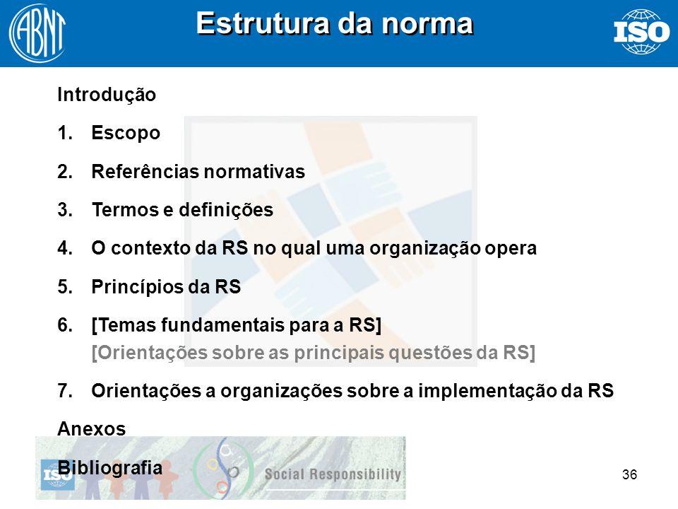 36 Estrutura da norma Introdução 1.Escopo 2.Referências normativas 3.Termos e definições 4.O contexto da RS no qual uma organização opera 5.Princípios