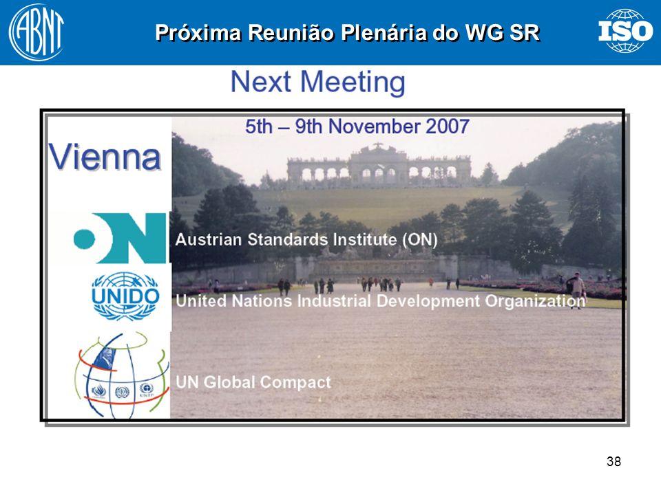 38 Próxima Reunião Plenária do WG SR