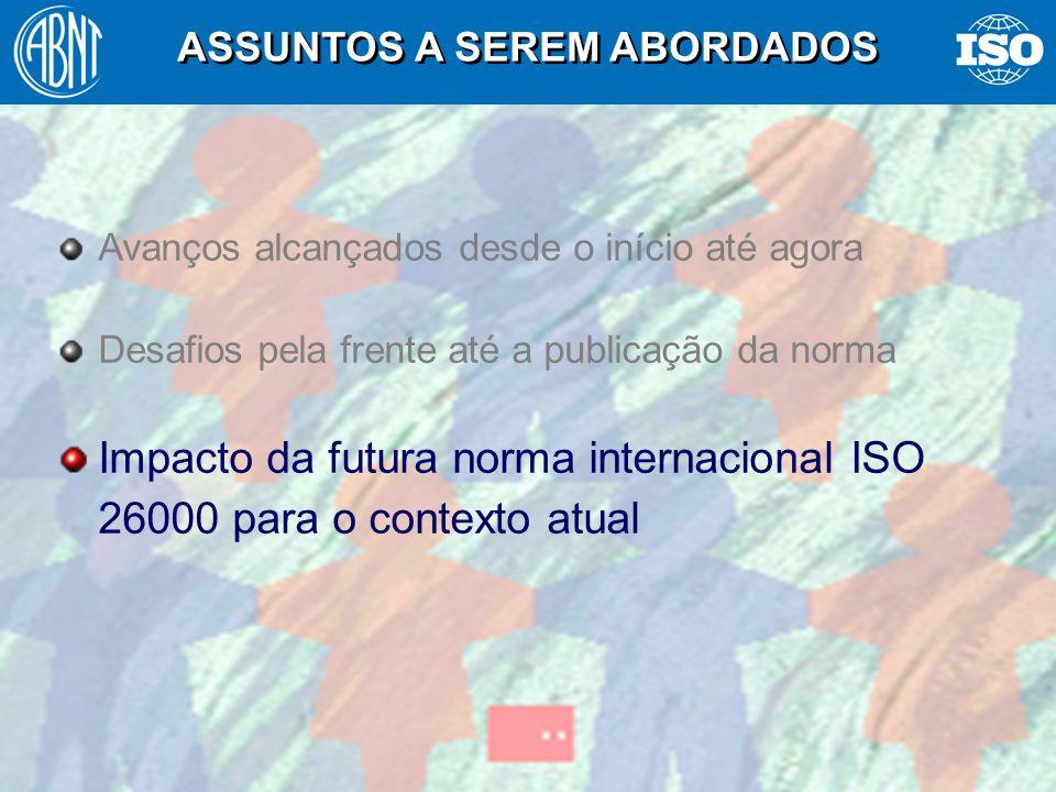 40 Avanços alcançados desde o início até agora Desafios pela frente até a publicação da norma Impacto da futura norma internacional ISO 26000 para o c