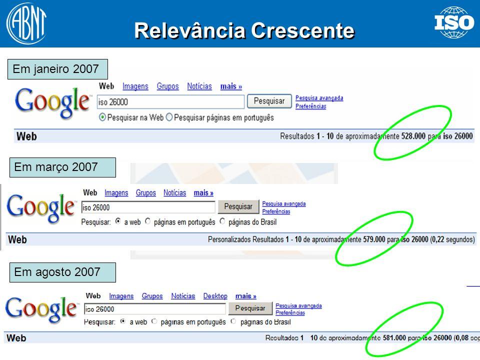 41 Relevância Crescente Em janeiro 2007 Em março 2007 Em agosto 2007