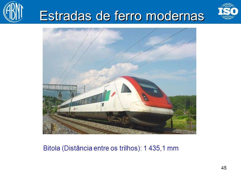 45 Estradas de ferro modernas Bitola (Distância entre os trilhos): 1 435,1 mm
