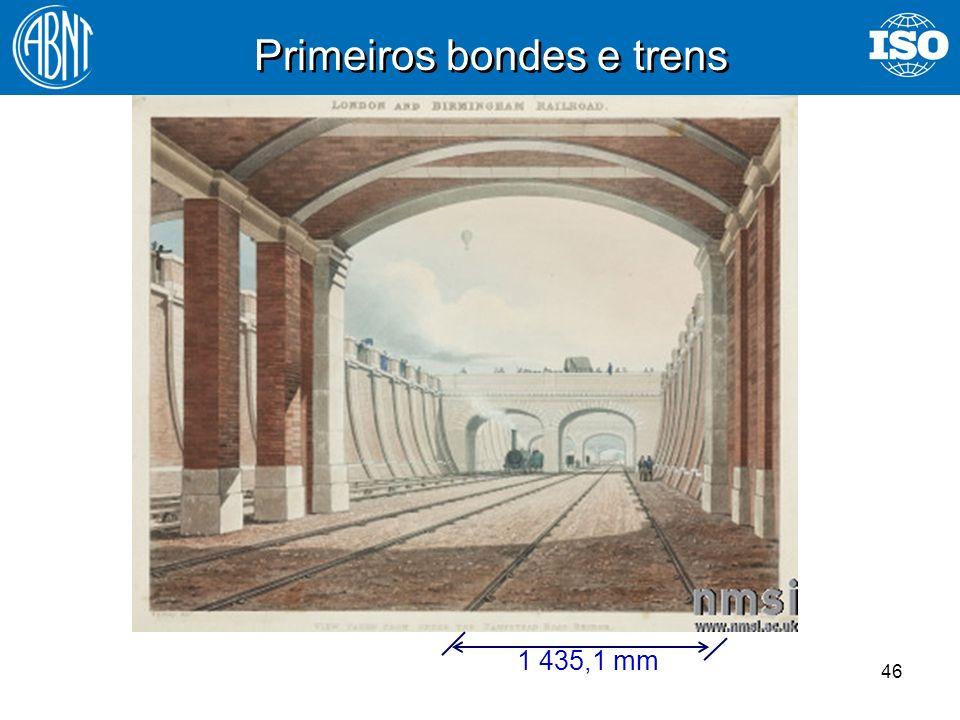 46 Primeiros bondes e trens 1 435,1 mm