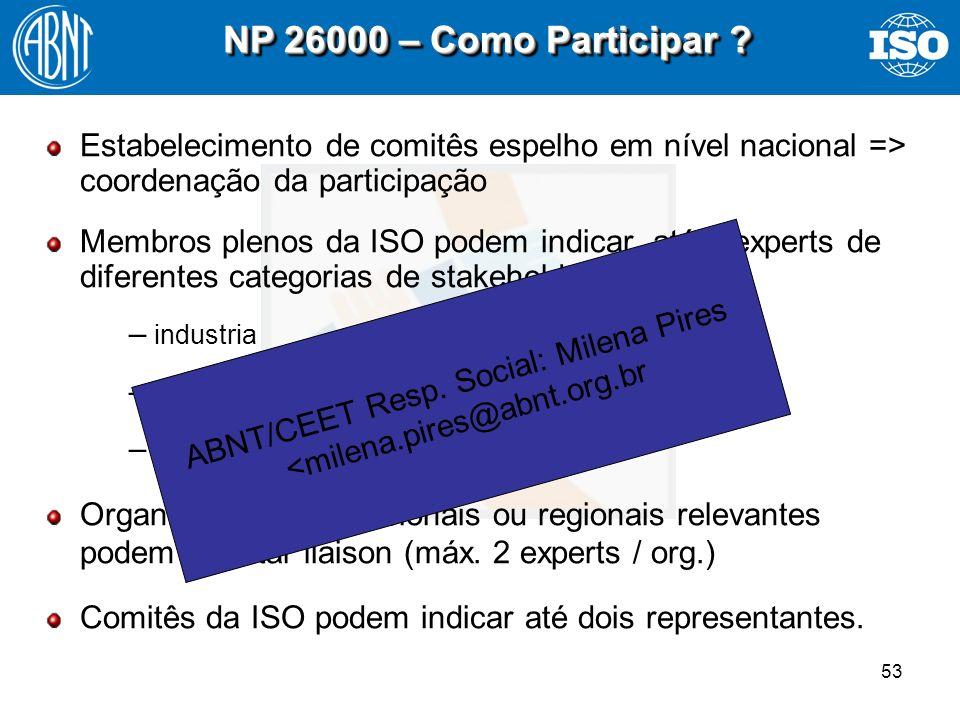 53 NP 26000 – Como Participar ? Estabelecimento de comitês espelho em nível nacional => coordenação da participação Membros plenos da ISO podem indica
