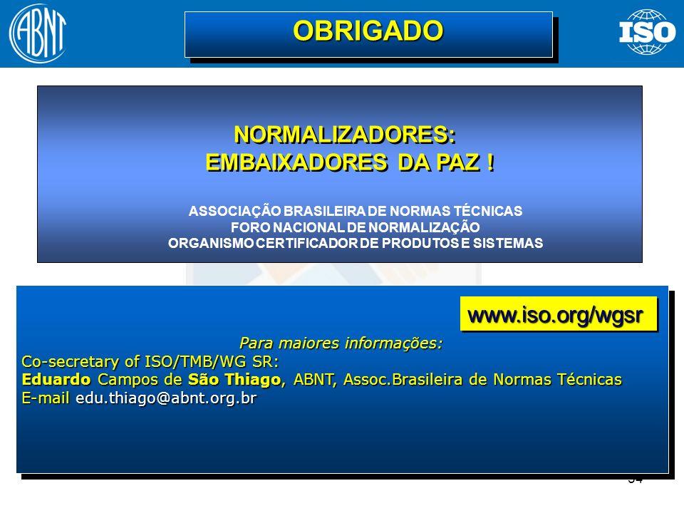 54 Para maiores informações: Co-secretary of ISO/TMB/WG SR: Eduardo Campos de São Thiago, ABNT, Assoc.Brasileira de Normas Técnicas E-mail edu.thiago@