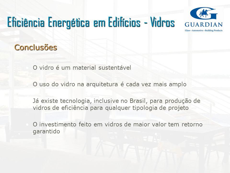 Conclusões O vidro é um material sustentável O uso do vidro na arquitetura é cada vez mais amplo Já existe tecnologia, inclusive no Brasil, para produ