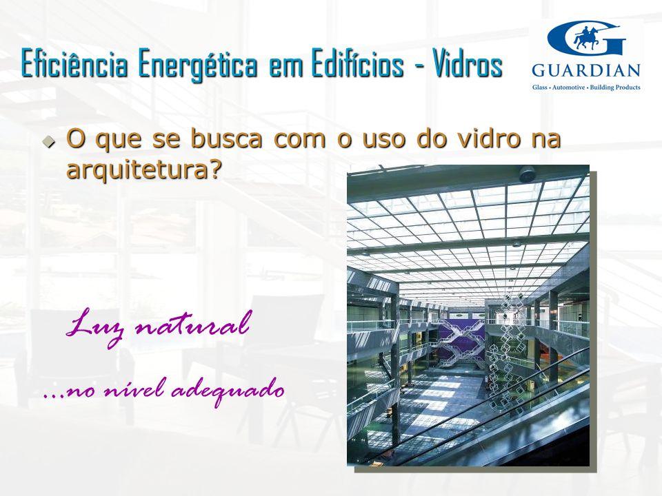 O que se busca com o uso do vidro na arquitetura? O que se busca com o uso do vidro na arquitetura? Luz natural...no nível adequado Eficiência Energét