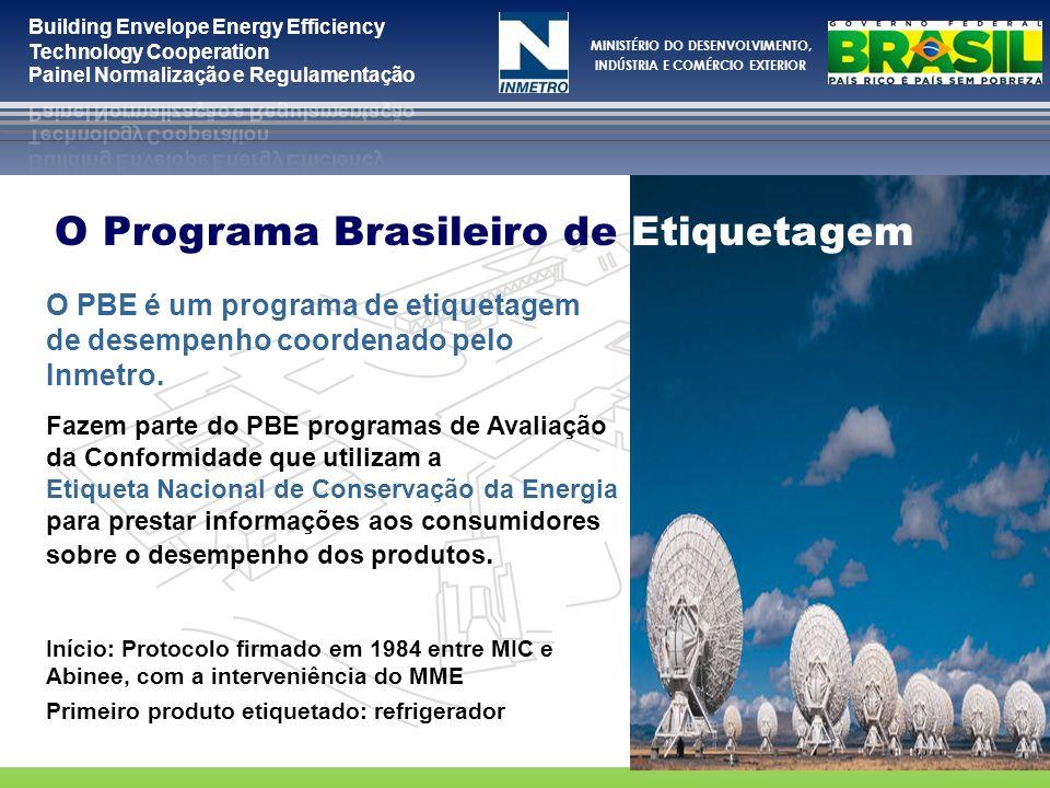 MINISTÉRIO DO DESENVOLVIMENTO, INDÚSTRIA E COMÉRCIO EXTERIOR O PBE é um programa de etiquetagem de desempenho coordenado pelo Inmetro. Fazem parte do