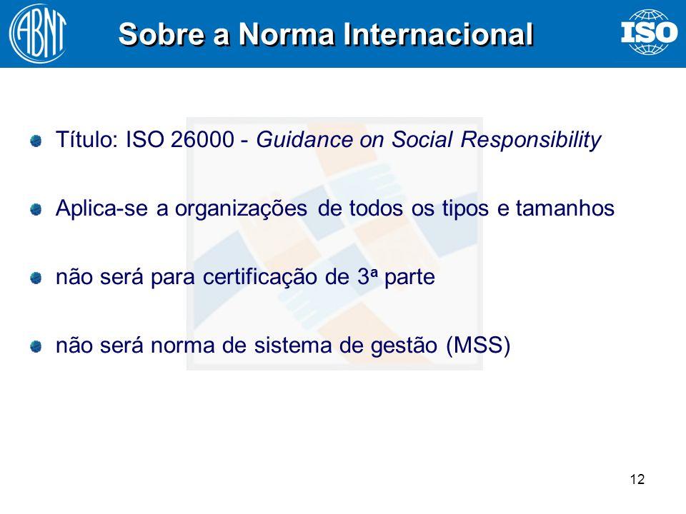 12 Sobre a Norma Internacional Título: ISO 26000 - Guidance on Social Responsibility Aplica-se a organizações de todos os tipos e tamanhos não será pa