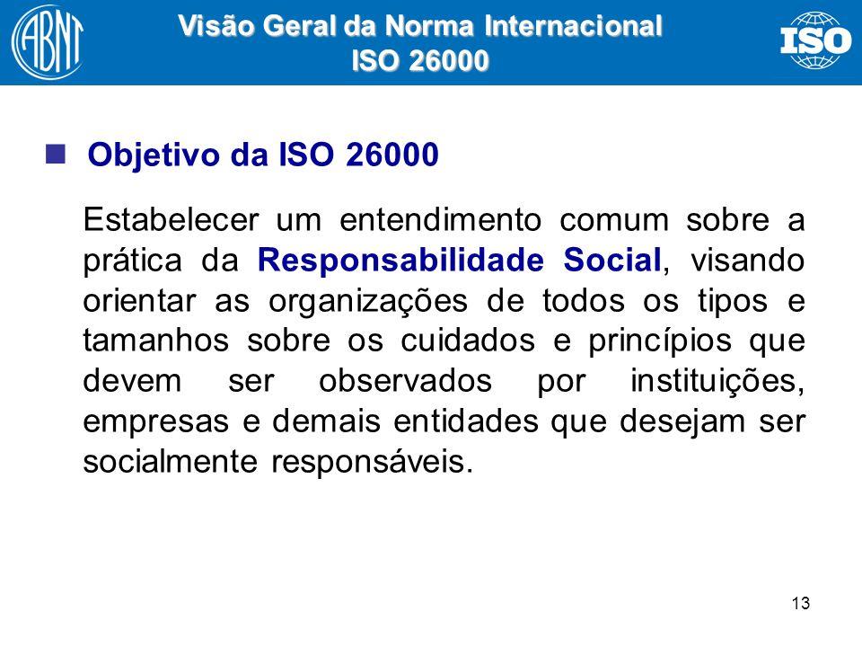 13 Visão Geral da Norma Internacional ISO 26000 Objetivo da ISO 26000 Estabelecer um entendimento comum sobre a prática da Responsabilidade Social, vi