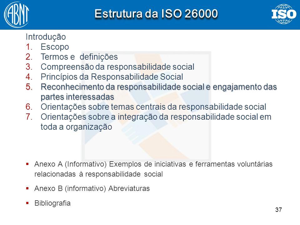 37 Estrutura da ISO 26000 Introdução 1.Escopo 2.Termos e definições 3.Compreensão da responsabilidade social 4.Princípios da Responsabilidade Social 5