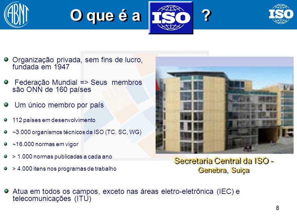 8 O que é a ? Secretaria Central da ISO - Genebra, Suiça Organização privada, sem fins de lucro, fundada em 1947 Federação Mundial => Seus membros são