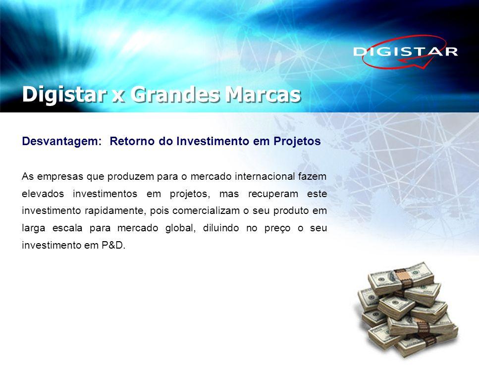 Desvantagem: Retorno do Investimento em Projetos As empresas que produzem para o mercado internacional fazem elevados investimentos em projetos, mas r