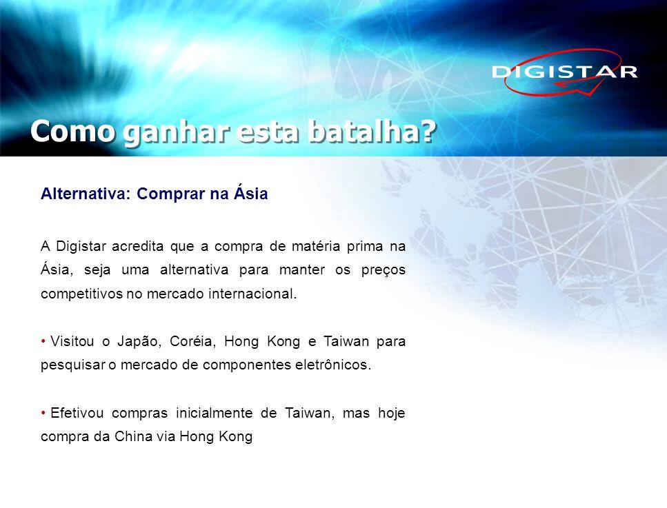 Como ganhar esta batalha? Alternativa: Comprar na Ásia A Digistar acredita que a compra de matéria prima na Ásia, seja uma alternativa para manter os