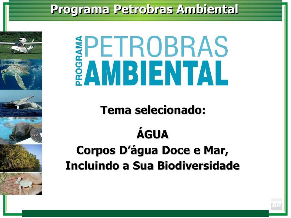Programa Petrobras Ambiental Tema selecionado: ÁGUA Corpos Dágua Doce e Mar, Incluindo a Sua Biodiversidade
