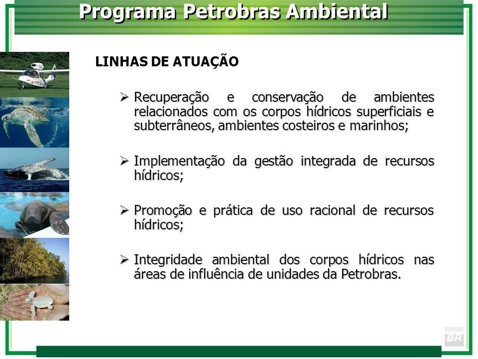 Programa Petrobras Ambiental LINHAS DE ATUAÇÃO Recuperação e conservação de ambientes relacionados com os corpos hídricos superficiais e subterrâneos,