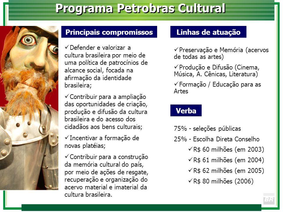 Principais compromissos Defender e valorizar a cultura brasileira por meio de uma política de patrocínios de alcance social, focada na afirmação da id