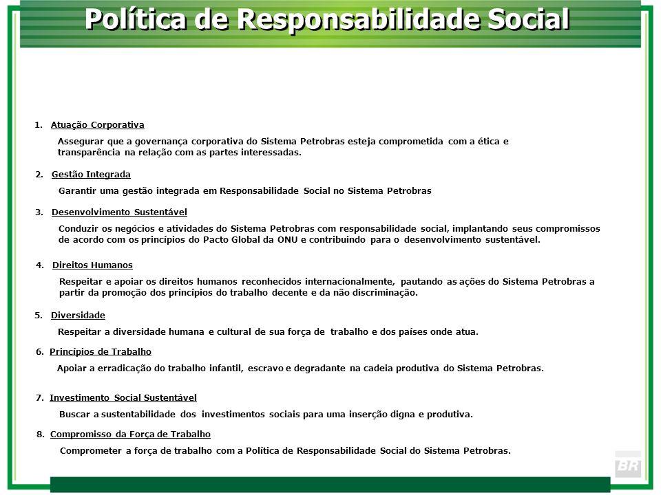 Política de Responsabilidade Social 2. Gestão Integrada Garantir uma gestão integrada em Responsabilidade Social no Sistema Petrobras 3. Desenvolvimen