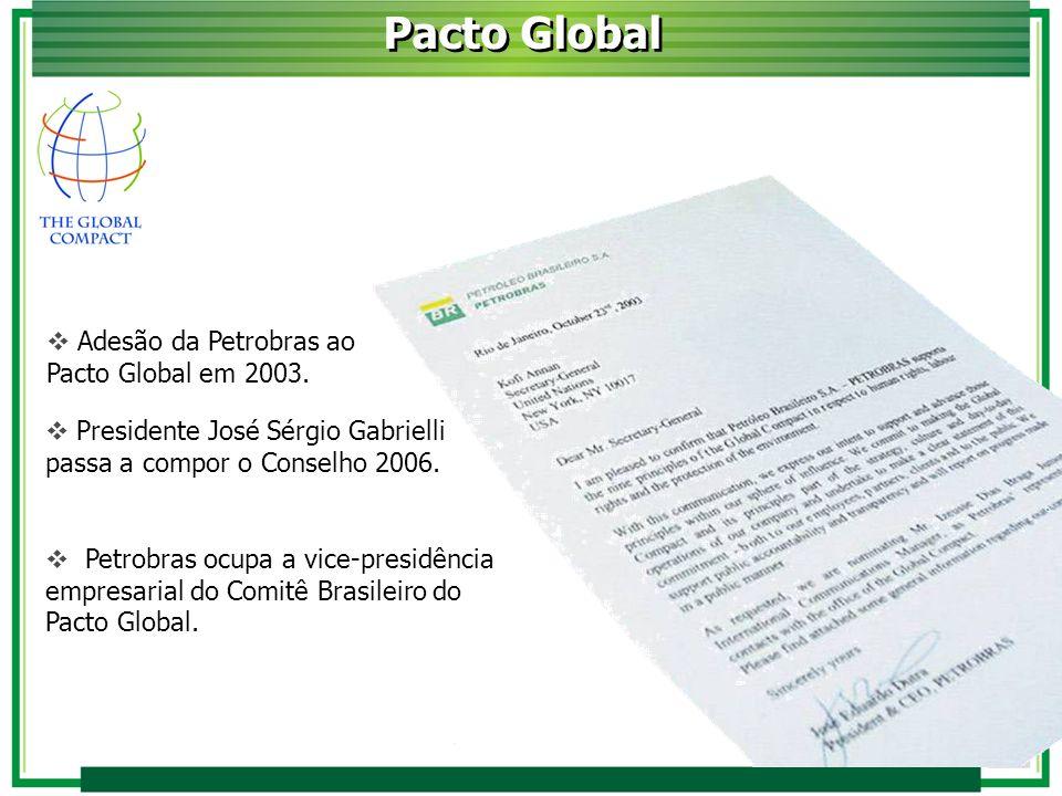 Adesão da Petrobras ao Pacto Global em 2003. Pacto Global Petrobras ocupa a vice-presidência empresarial do Comitê Brasileiro do Pacto Global. Preside