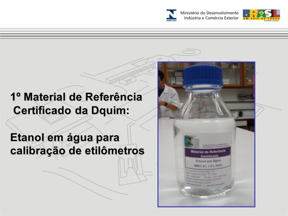 1º Material de Referência Certificado da Dquim: Certificado da Dquim: Etanol em água para calibração de etilômetros