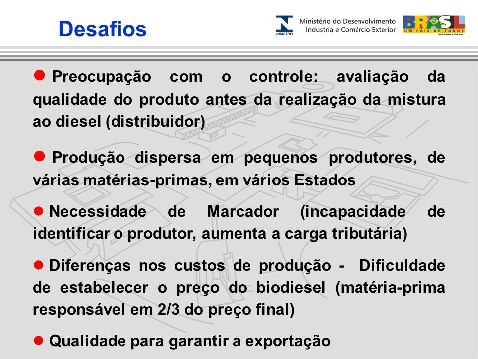 Preocupação com o controle: avaliação da qualidade do produto antes da realização da mistura ao diesel (distribuidor) Produção dispersa em pequenos pr