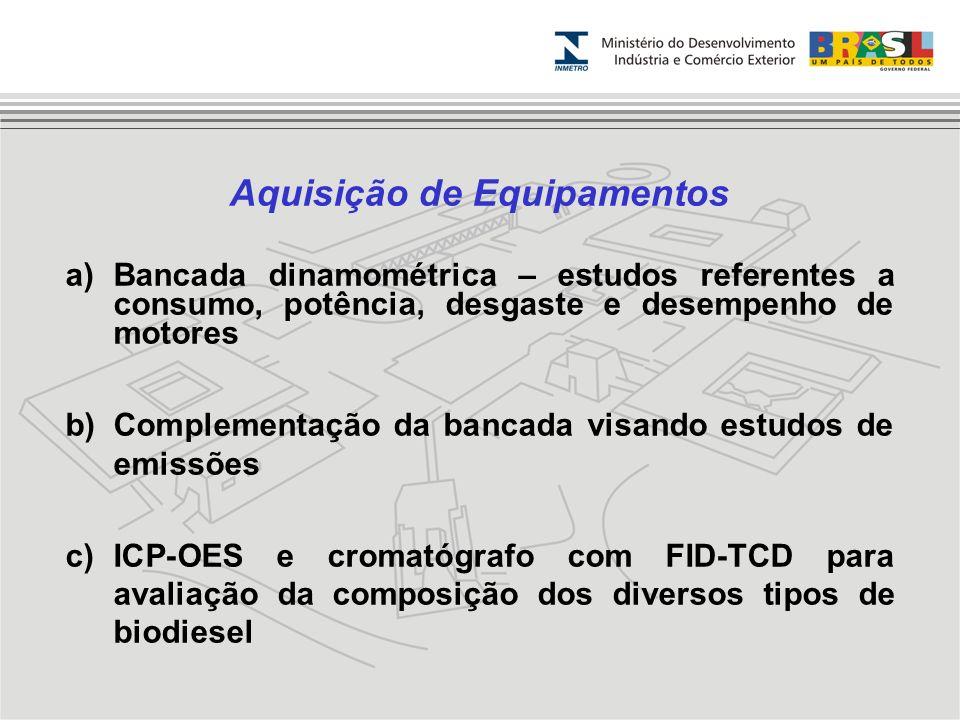 Aquisição de Equipamentos a)Bancada dinamométrica – estudos referentes a consumo, potência, desgaste e desempenho de motores b)Complementação da banca