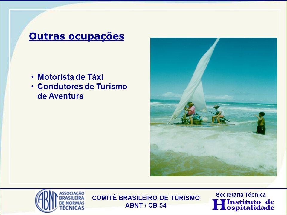 COMITÊ BRASILEIRO DE TURISMO ABNT / CB 54 Secretaria Técnica Motorista de Táxi Condutores de Turismo de Aventura Outras ocupações