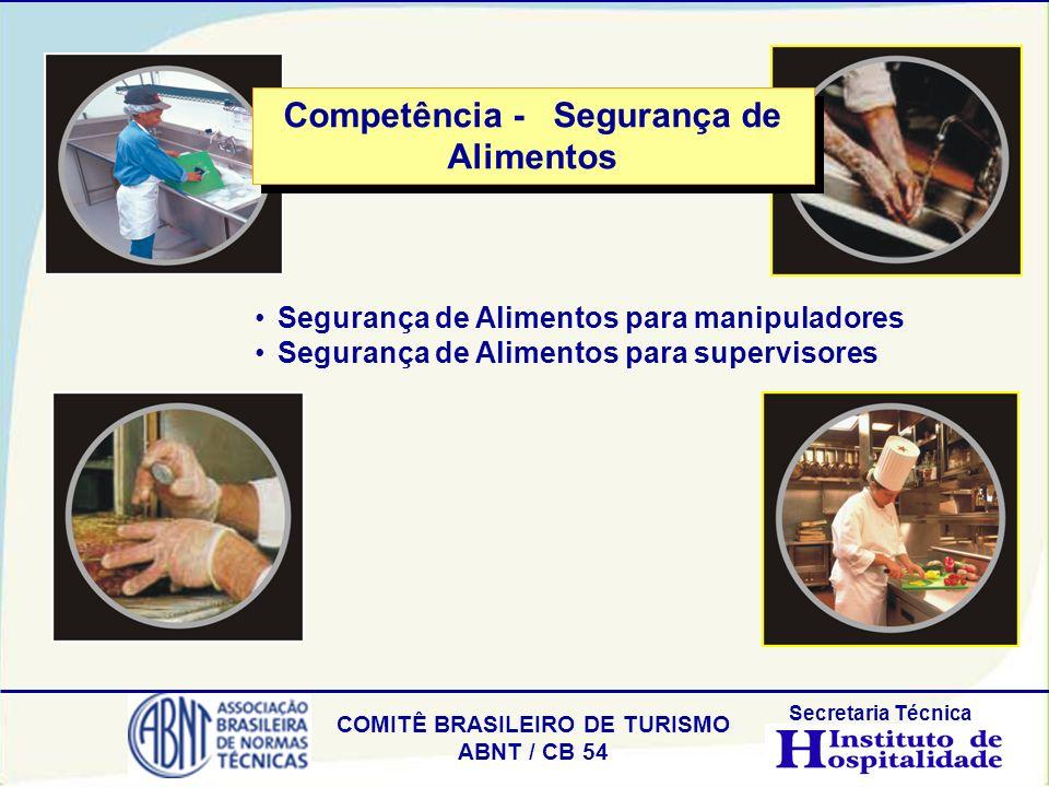 COMITÊ BRASILEIRO DE TURISMO ABNT / CB 54 Secretaria Técnica Segurança de Alimentos para manipuladores Segurança de Alimentos para supervisores Compet