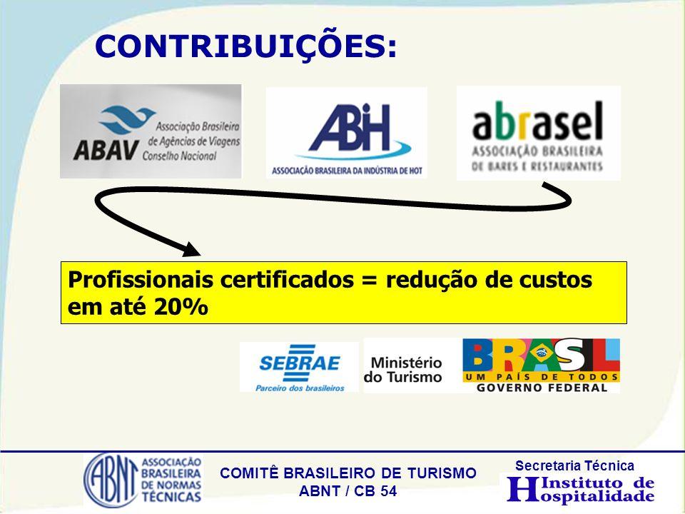 COMITÊ BRASILEIRO DE TURISMO ABNT / CB 54 Secretaria Técnica CONTRIBUIÇÕES: Profissionais certificados = redução de custos em até 20%