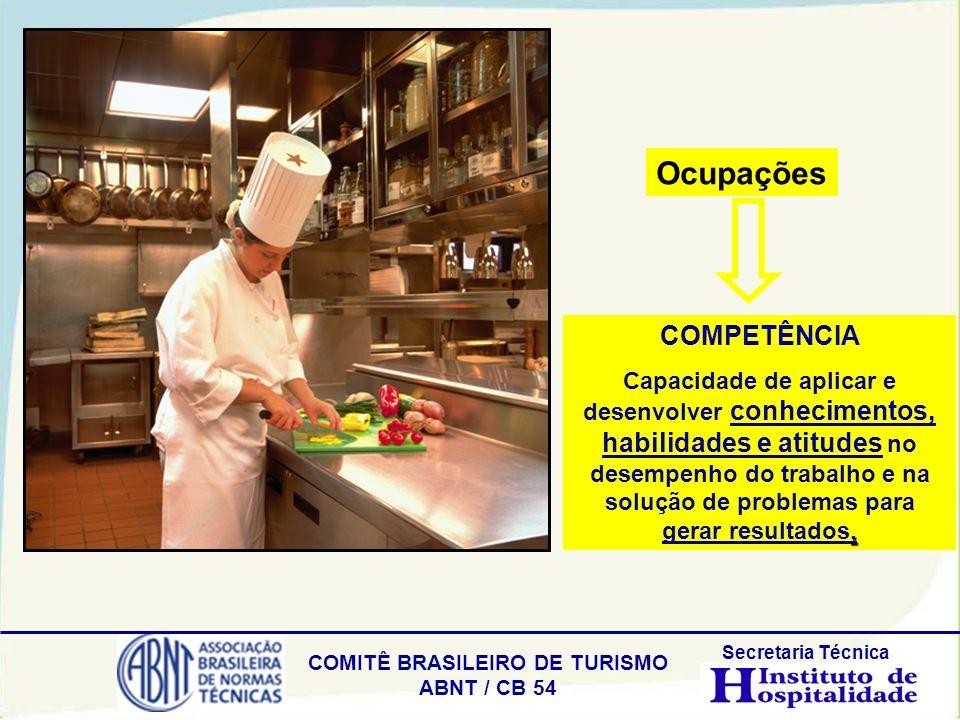 COMITÊ BRASILEIRO DE TURISMO ABNT / CB 54 Secretaria Técnica COMPETÊNCIA. Capacidade de aplicar e desenvolver conhecimentos, habilidades e atitudes no