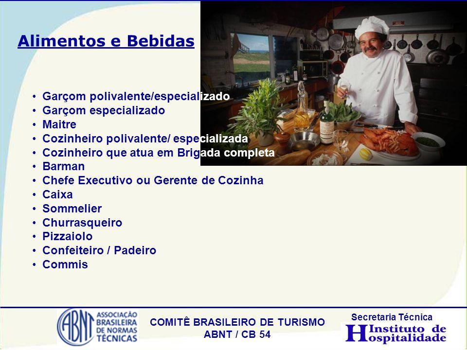 COMITÊ BRASILEIRO DE TURISMO ABNT / CB 54 Secretaria Técnica Garçom polivalente/especializado Garçom especializado Maitre Cozinheiro polivalente/ espe