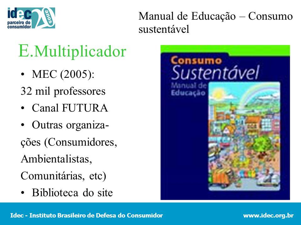 Idec - Instituto Brasileiro de Defesa do Consumidorwww.idec.org.br E. Multiplicador MEC (2005): 32 mil professores Canal FUTURA Outras organiza- ções