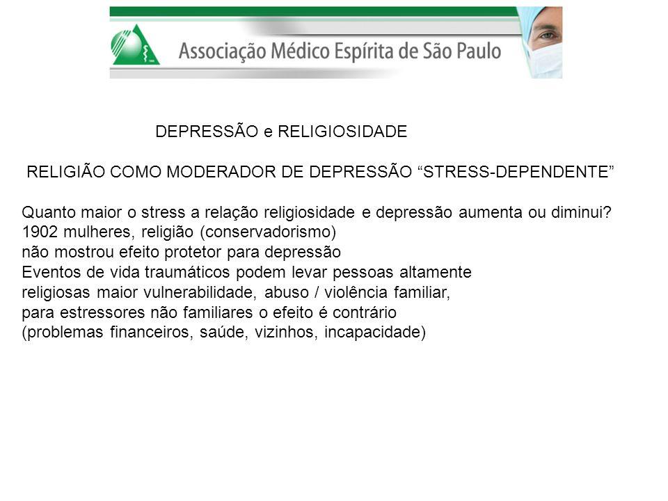 DEPRESSÃO e RELIGIOSIDADE RELIGIÃO COMO MODERADOR DE DEPRESSÃO STRESS-DEPENDENTE Quanto maior o stress a relação religiosidade e depressão aumenta ou