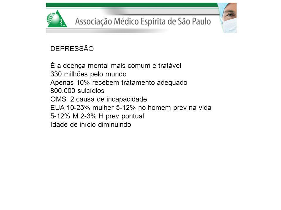 DEPRESSÃO É a doença mental mais comum e tratável 330 milhões pelo mundo Apenas 10% recebem tratamento adequado 800.000 suicídios OMS 2 causa de incap
