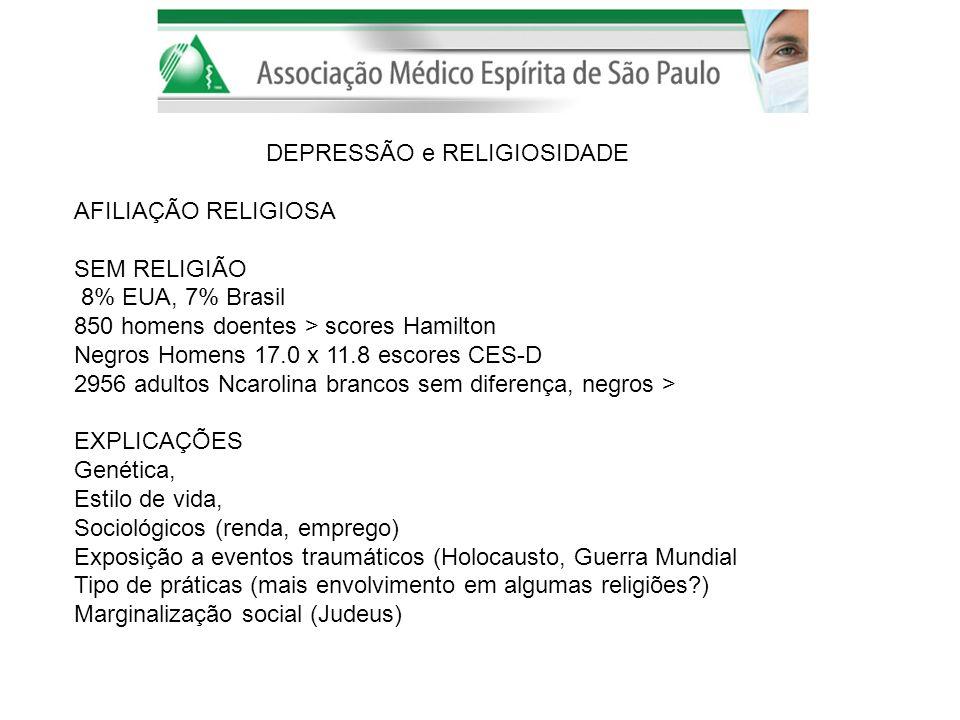 DEPRESSÃO e RELIGIOSIDADE AFILIAÇÃO RELIGIOSA SEM RELIGIÃO 8% EUA, 7% Brasil 850 homens doentes > scores Hamilton Negros Homens 17.0 x 11.8 escores CE