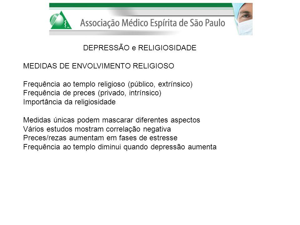 DEPRESSÃO e RELIGIOSIDADE MEDIDAS DE ENVOLVIMENTO RELIGIOSO Frequência ao templo religioso (público, extrínsico) Frequência de preces (privado, intrín