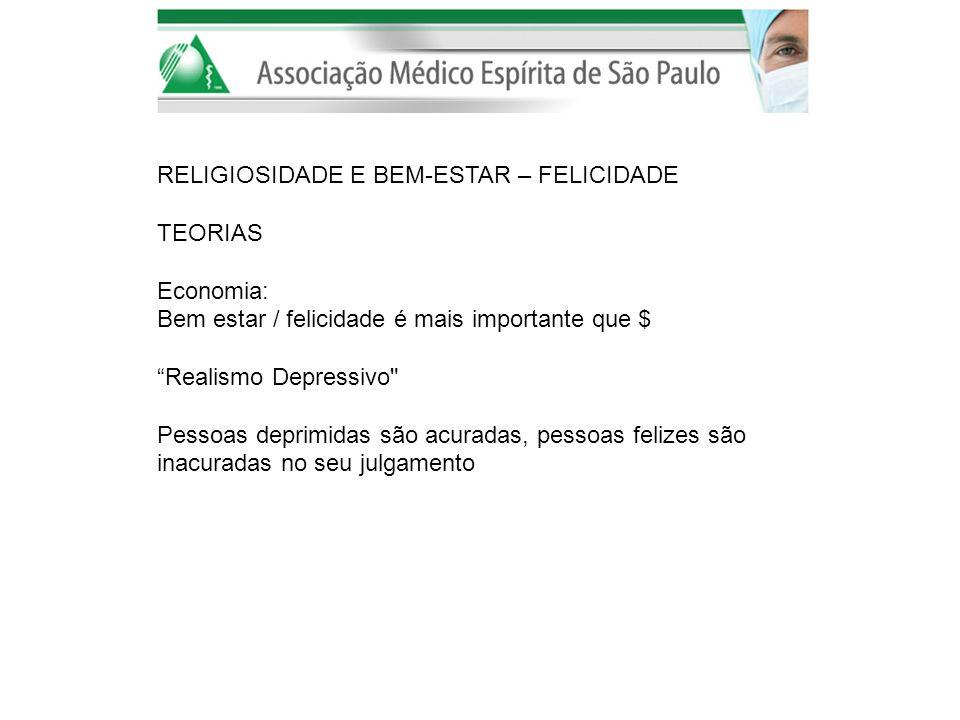 RELIGIOSIDADE E BEM-ESTAR – FELICIDADE TEORIAS Economia: Bem estar / felicidade é mais importante que $ Realismo Depressivo