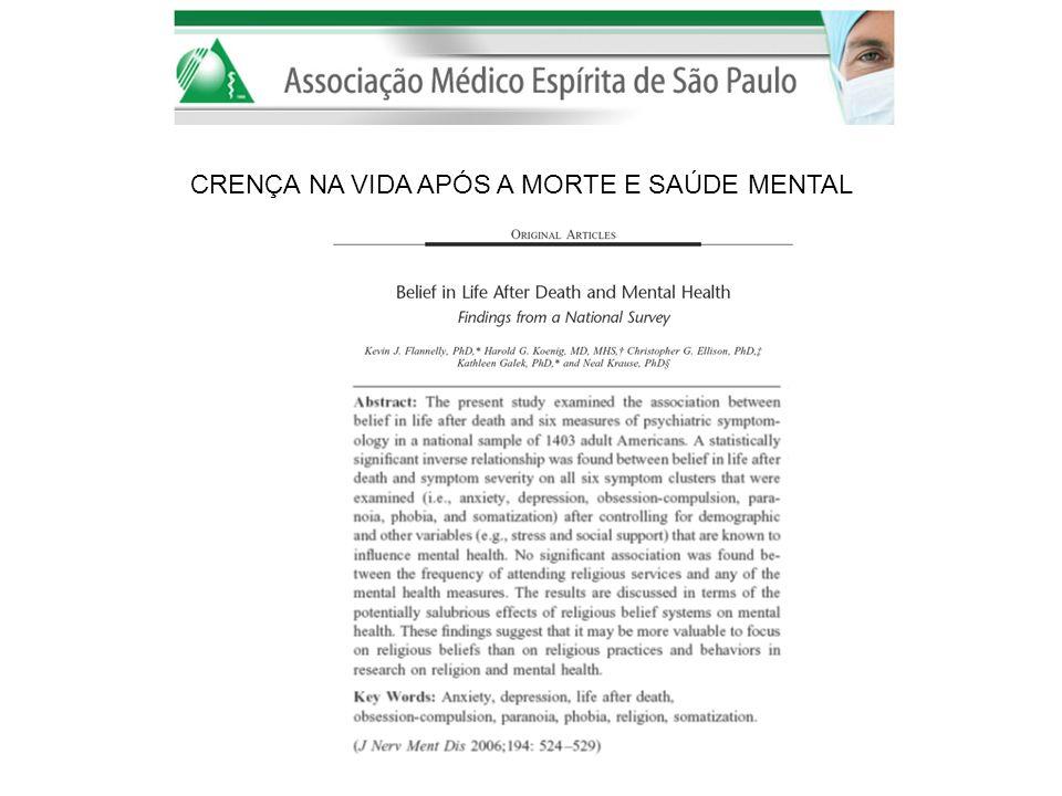 Interesse em religião na psiquiatria e outras áreas da medicina Bem-estar e religiosidade correlacionam positivamente Diversos estudos mostram religiosidade como importante no enfrentamento, coping em transtornos mentais.