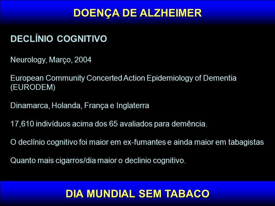 DECLÍNIO COGNITIVO Neurology, Março, 2004 European Community Concerted Action Epidemiology of Dementia (EURODEM) Dinamarca, Holanda, França e Inglater
