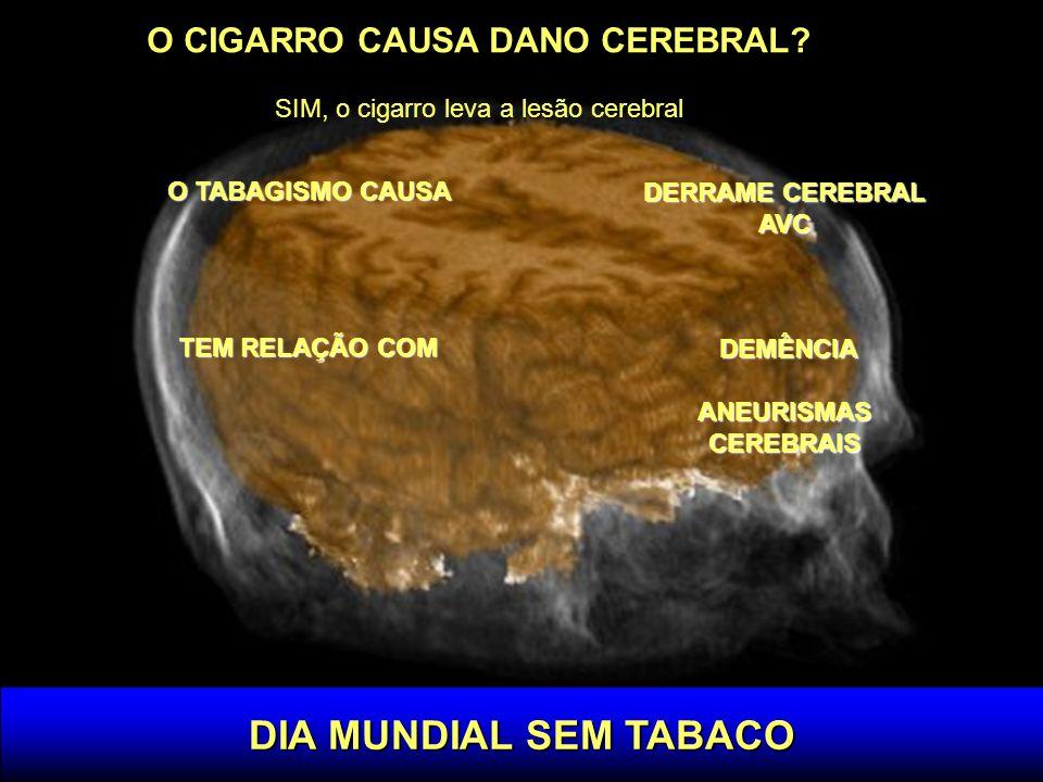 DIA MUNDIAL SEM TABACO O CIGARRO CAUSA DANO CEREBRAL? SIM, o cigarro leva a lesão cerebral O TABAGISMO CAUSA TEM RELAÇÃO COM DERRAME CEREBRAL AVC DEMÊ